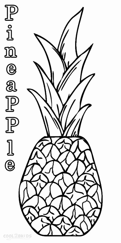 Pineapple Template Printable New Pineapple Coloring Pages
