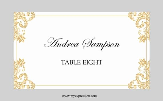 Place Card Template 6 Per Sheet Unique Wedding Place Cards Flat Template Elegant Gold Damask
