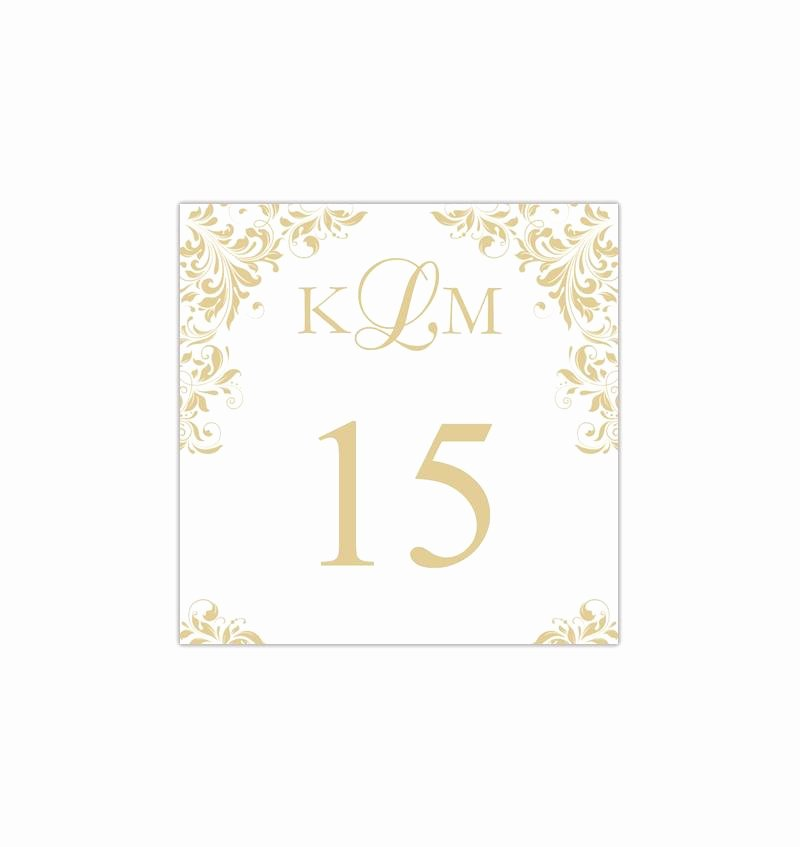 Place Card Template Word 6 Per Sheet Inspirational Printable Table Number Template Gold Champagne Tent