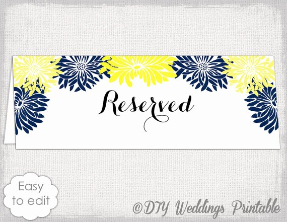 Place Card Template Word 6 Per Sheet Inspirational Reserved Card Template Flower Burst Printable