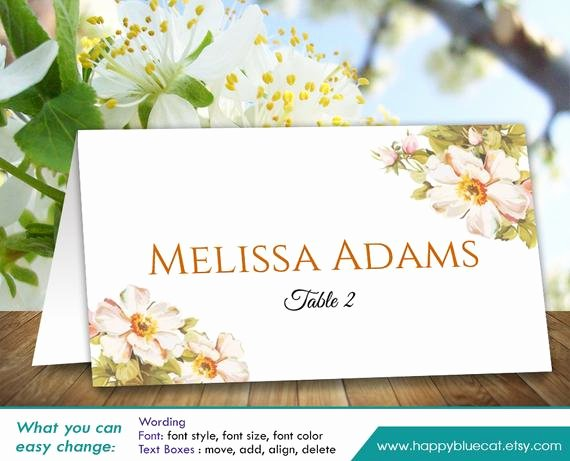 Place Card Template Word 6 Per Sheet Luxury Diy Printable Wedding Place Card Template Instant Download