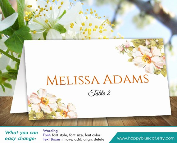 Place Cards Template 6 Per Sheet Awesome Diy Printable Wedding Place Card Template Instant Download