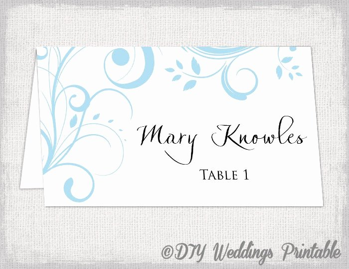 Place Cards Template 6 Per Sheet Beautiful Printable Place Card Template Capri Blue Scroll