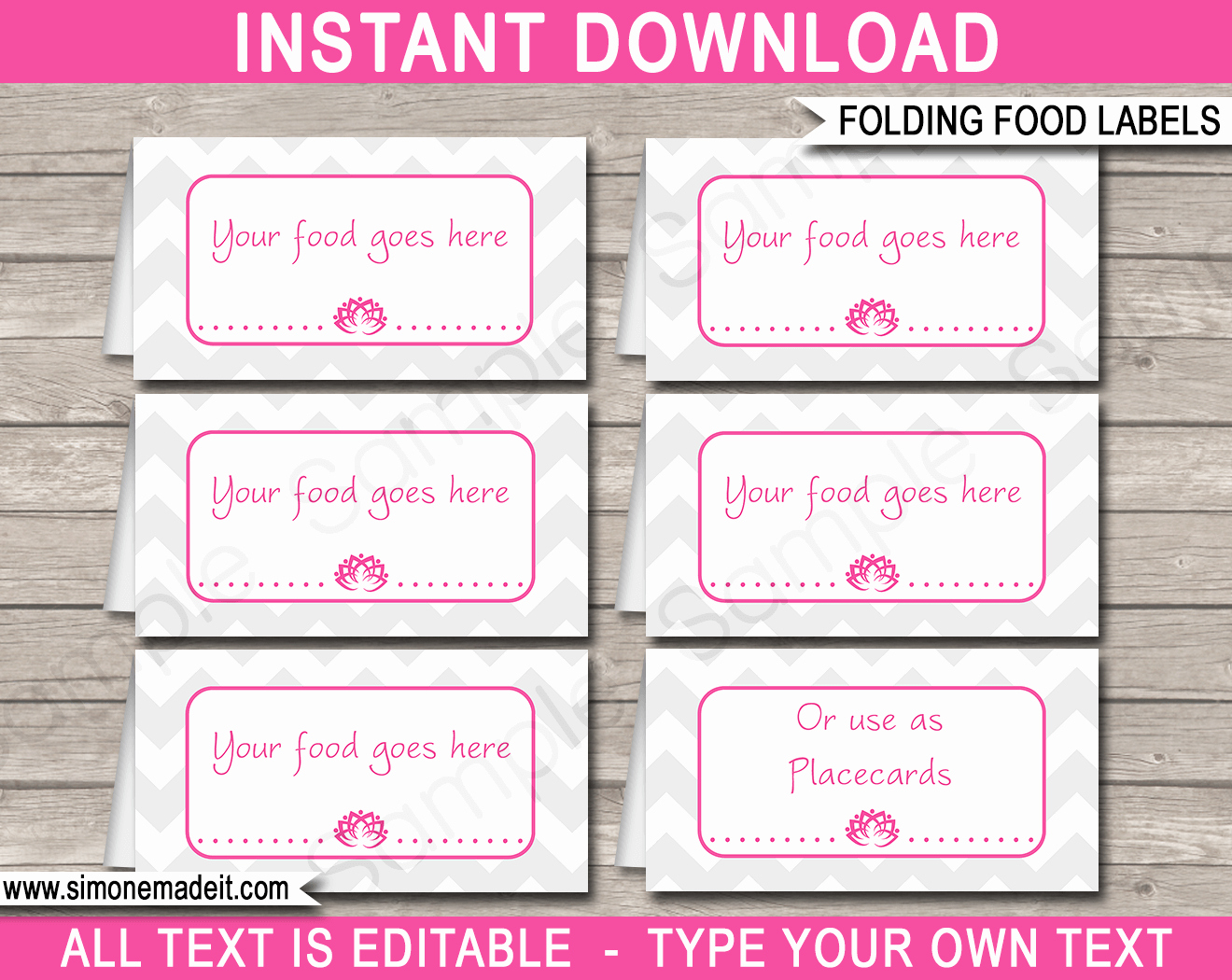 Place Cards Template 6 Per Sheet Lovely Yoga theme Food Labels Template Place Cards