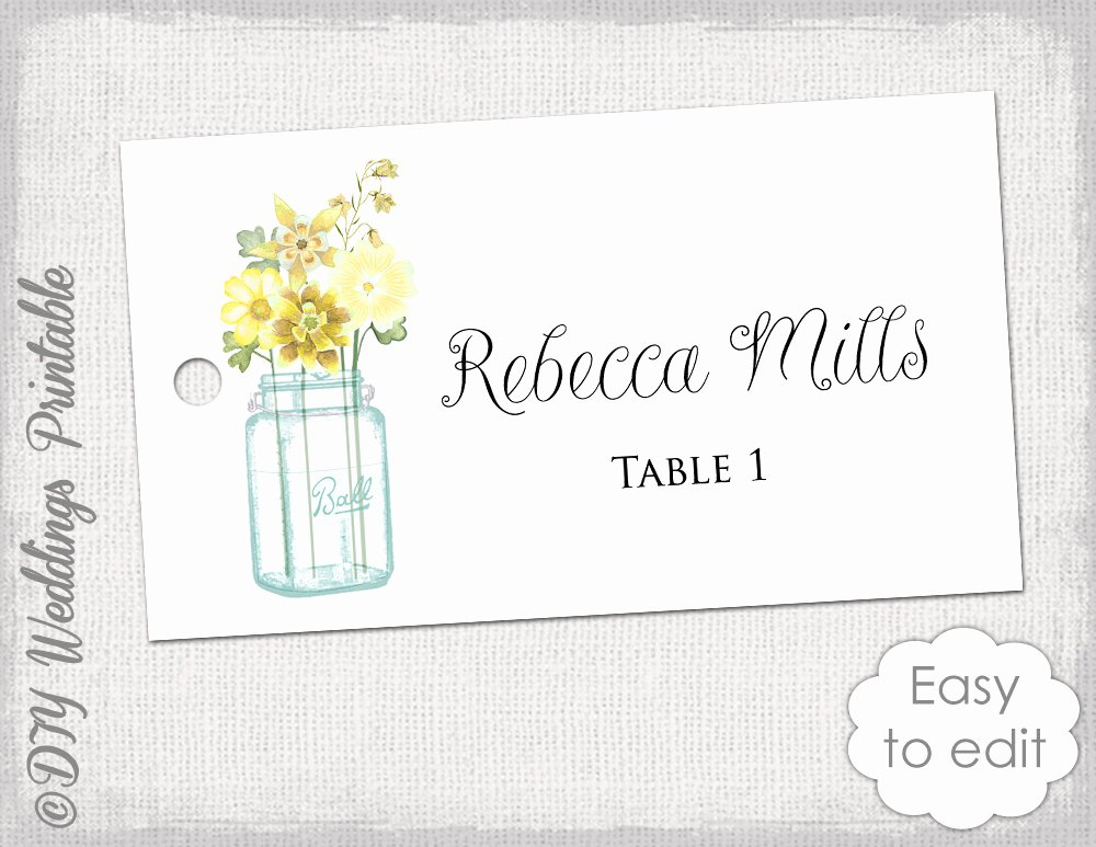 Place Cards Template 6 Per Sheet New Place Card Template Printable Wedding Name Cards Mason