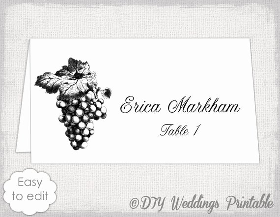 Place Cards Templates 6 Per Sheet Awesome Place Card Template Grapes Name Card Templates