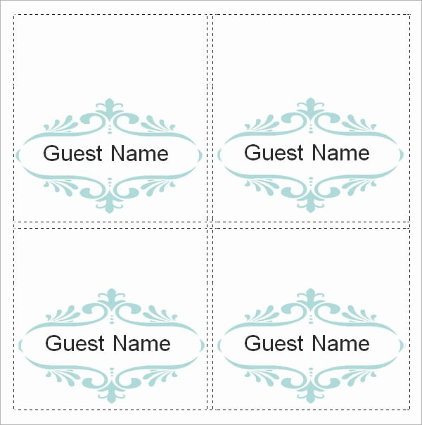 Place Cards Templates 6 Per Sheet Fresh Sample Place Card Template 6 Free Documents Download In