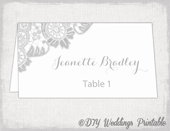 Place Cards Templates 6 Per Sheet New Printable Place Cards Template Silver Gray Wedding Place Card