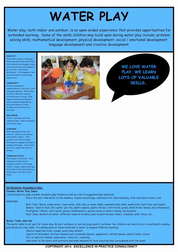 Play Program Templates Beautiful Water Play Observation Template