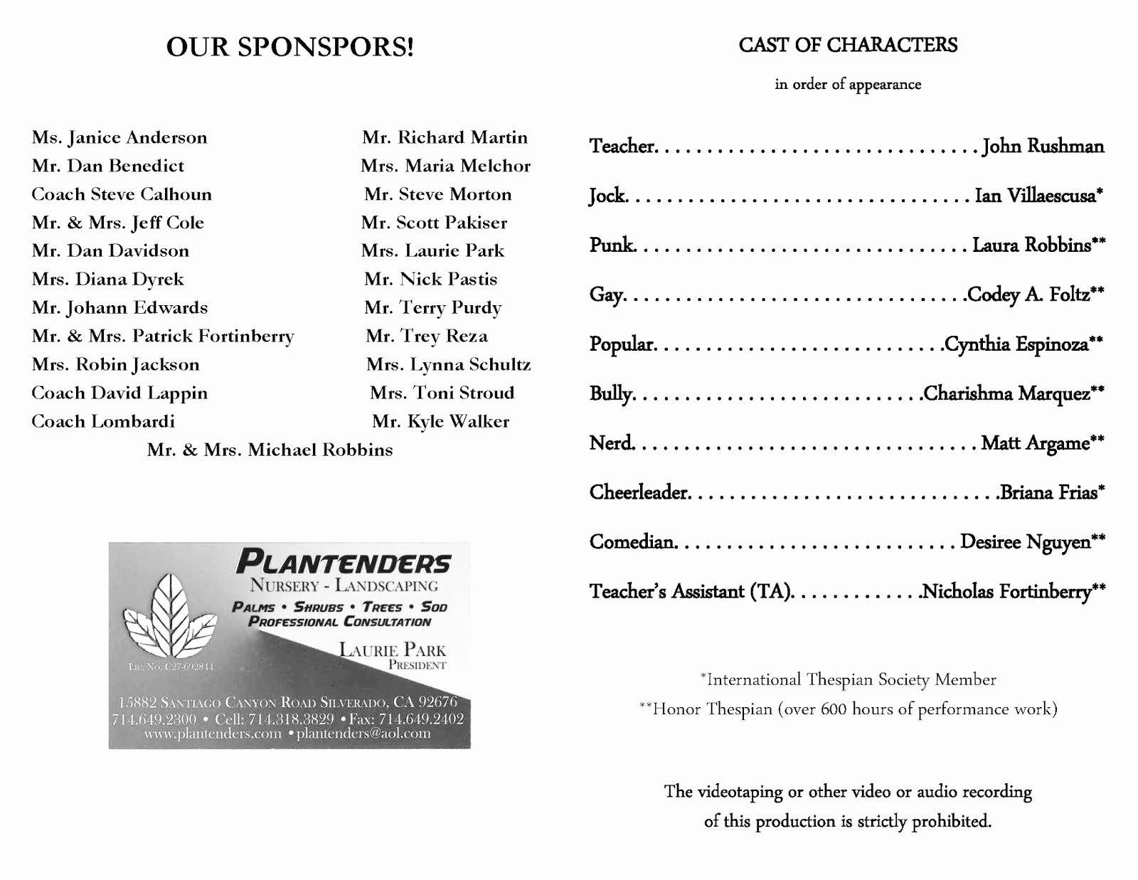 Play Program Templates Fresh Loara High School Loara theatre Arts Macy Awards