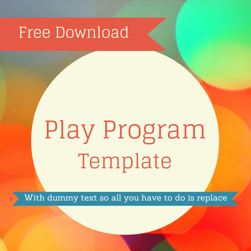 Play Program Templates New Free Play Program Template for Use This In Your