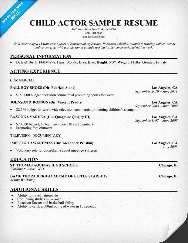 Playbill Bio Template Beautiful Child Actor Resume format 620×800