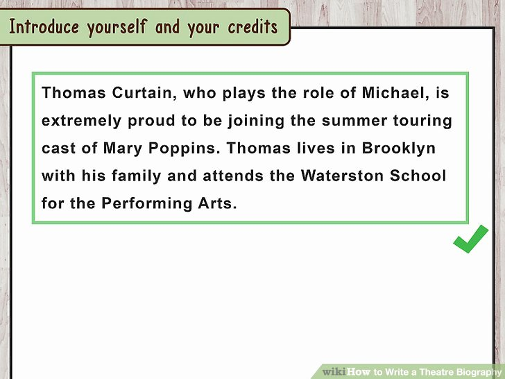 Playbill Bio Template Elegant How to Write A theatre Biography with Sample Bios Wikihow