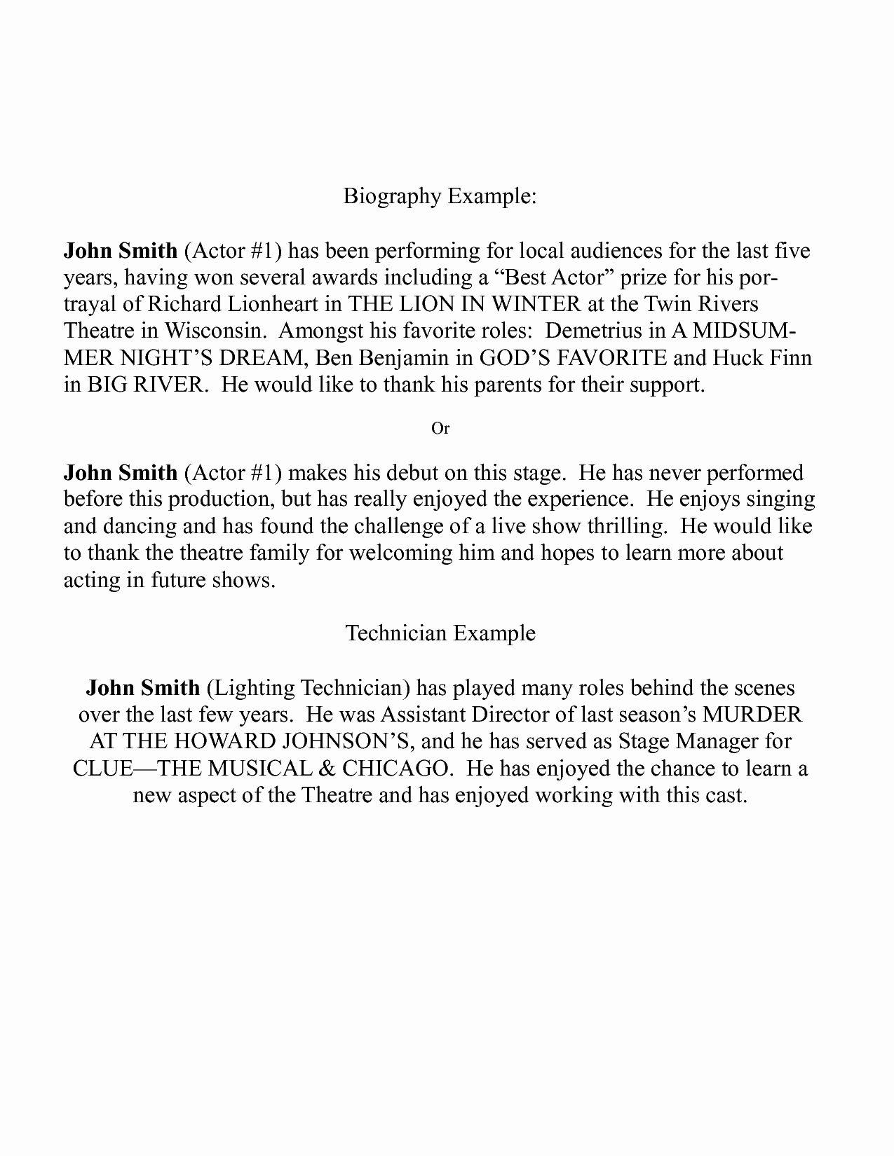 Playbill Bio Template Fresh Actors Bio Template Erieairfair