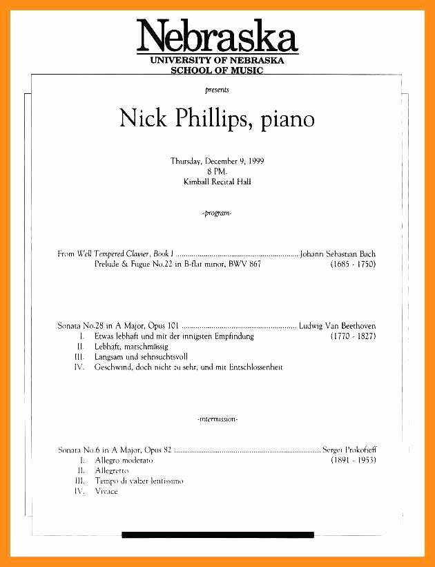 Playbill Template for Mac Best Of 10 11 Concert Program Word Template