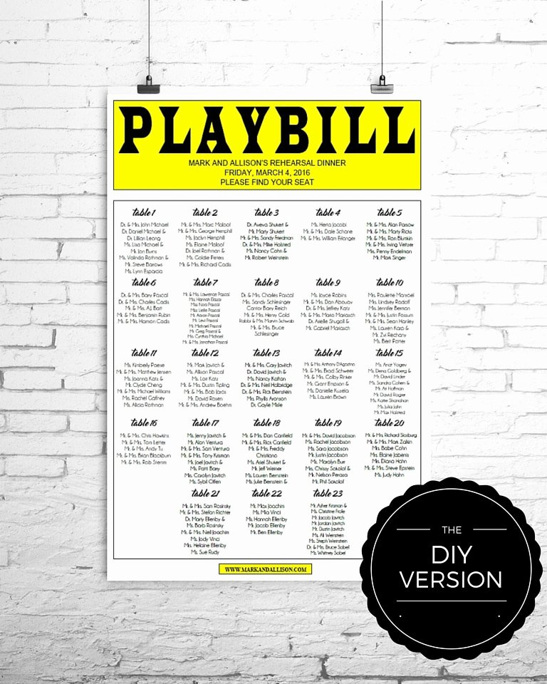 Playbill Template Word Inspirational Playbill Broadway Seating Chart Template Diy Digital File
