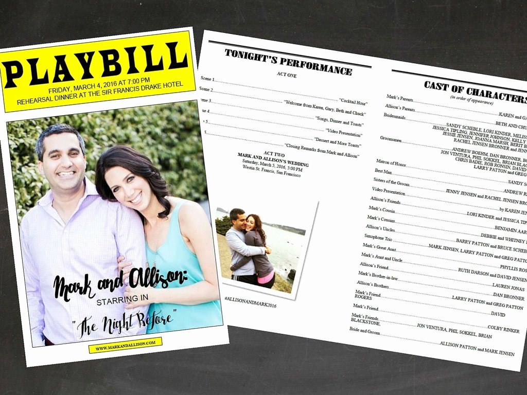 Playbill Template Word Luxury Playbill Broadway Template for Rehearsal Dinner by