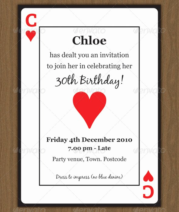 Playing Card Template Word Unique Playing Card Invitation by Chloeb