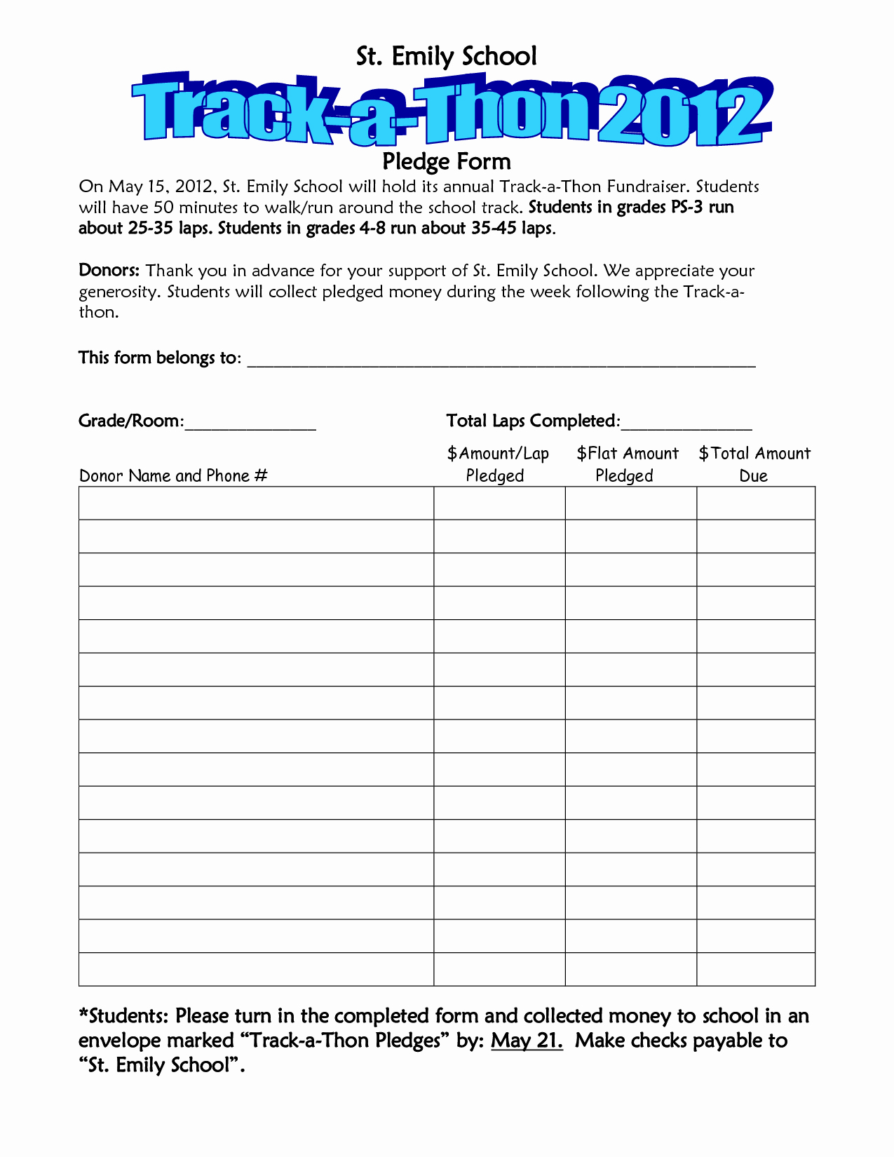 Pledge Card Template Word Elegant Walkathon Pledge form Template Invitation Templates