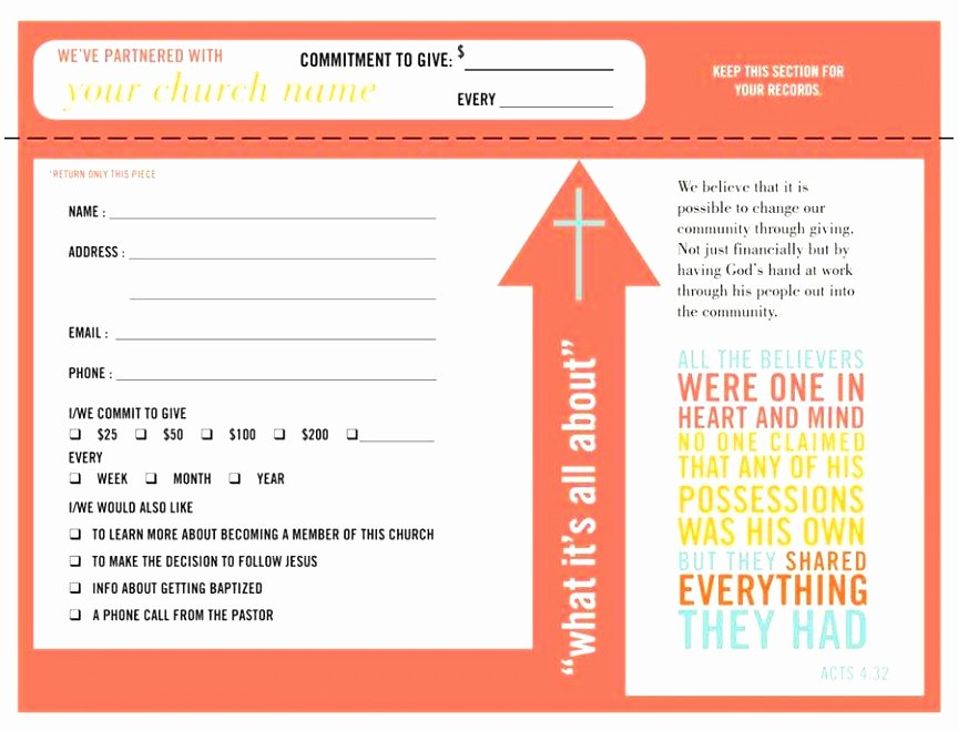 Pledge Card Template Word Fresh 5 Church Pledge Card Template Roeca