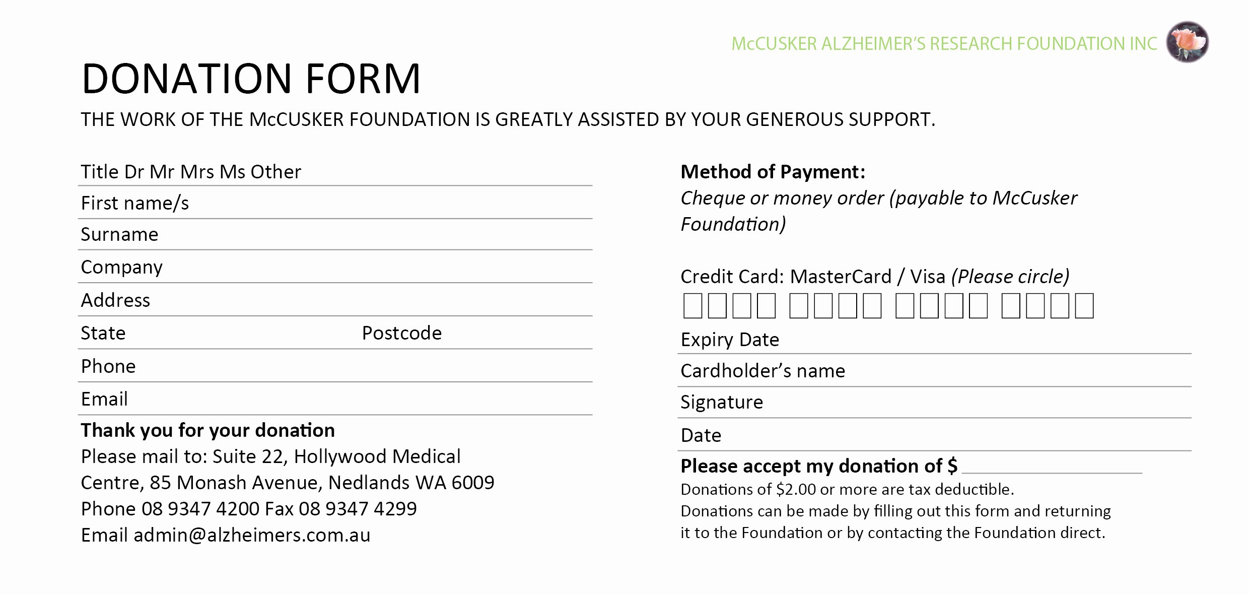 Pledge Card Template Word Fresh 6 Donation form Templates Excel Pdf formats