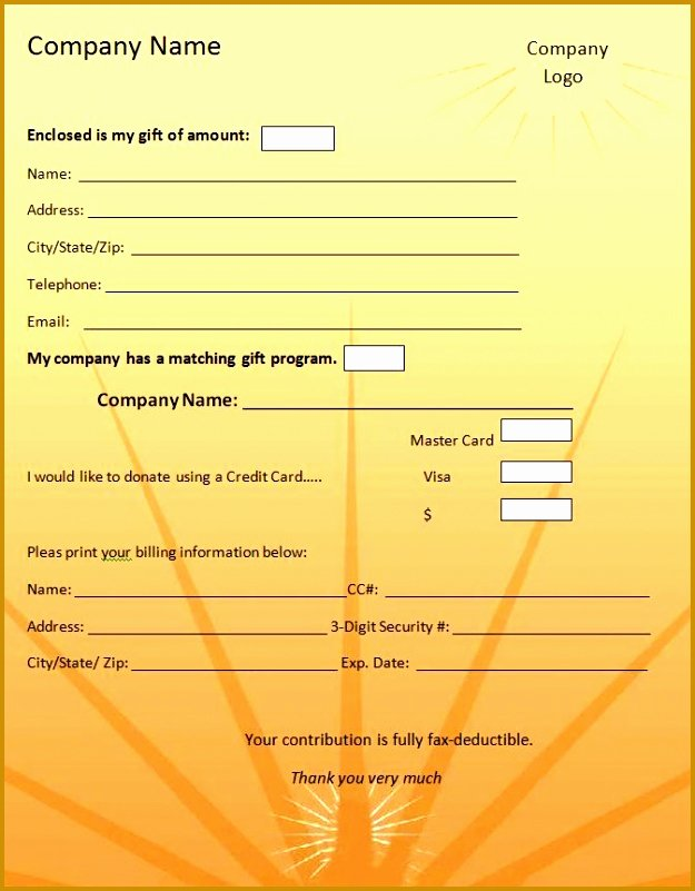 Pledge Card Template Word Lovely 6 Charity Pledge form Template