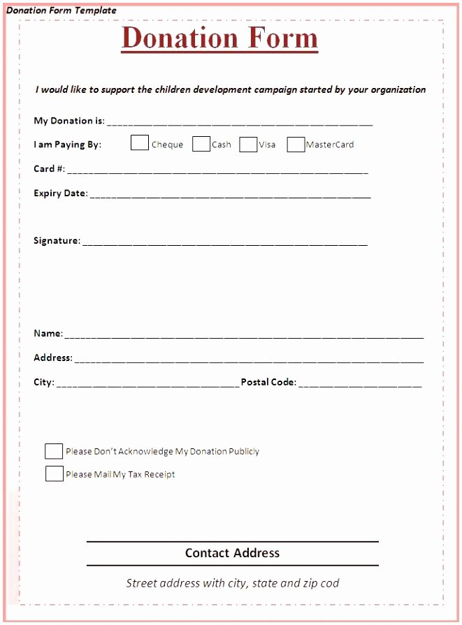 Pledge Card Template Word New 9 Charity Pledge form Template Dtauw