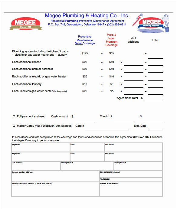 Plumbers Report Template Awesome 10 Plumbing Contract Templates & Samples Doc Pdf