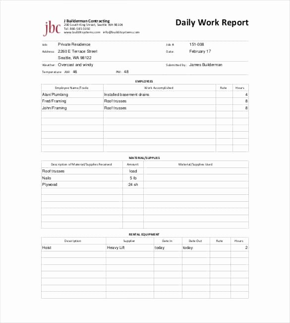 Plumbers Report Template Awesome 64 Daily Report Templates Pdf Docs Excel
