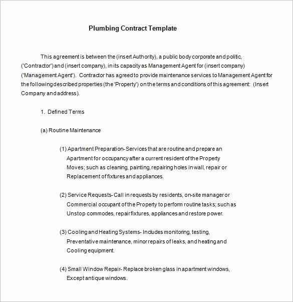 Plumbers Report Template Beautiful 10 Plumbing Contract Templates & Samples Doc Pdf