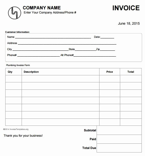 Plumbing Estimate Template Best Of Plumbing Invoice Template Free 4