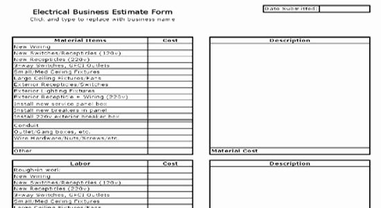 Plumbing Estimate Template Elegant Electrical Business Estimate Sheet