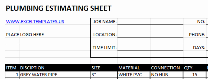 Plumbing Estimate Template Inspirational Construction Excel Templates Plumbing Estimating Sheets