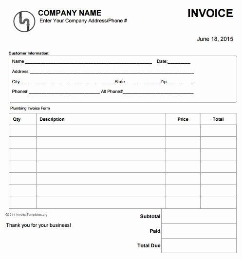 Plumbing Estimate Template Unique 14 Free Plumbing Invoice Templates Demplates