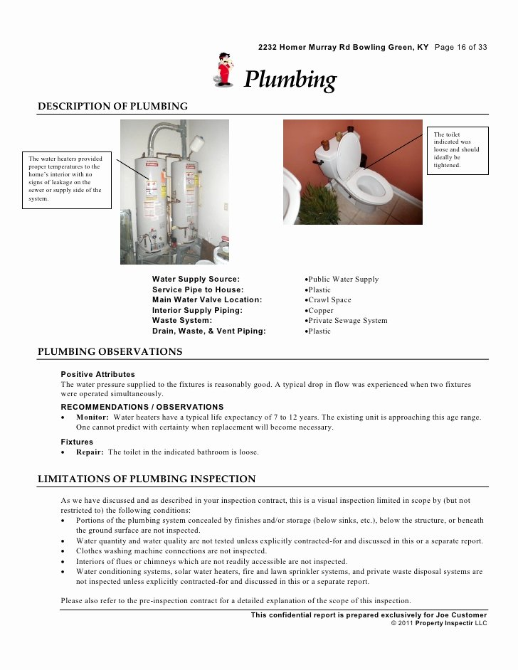 Plumbing Inspection Report Template Lovely Residential Home Inspection Sample Report