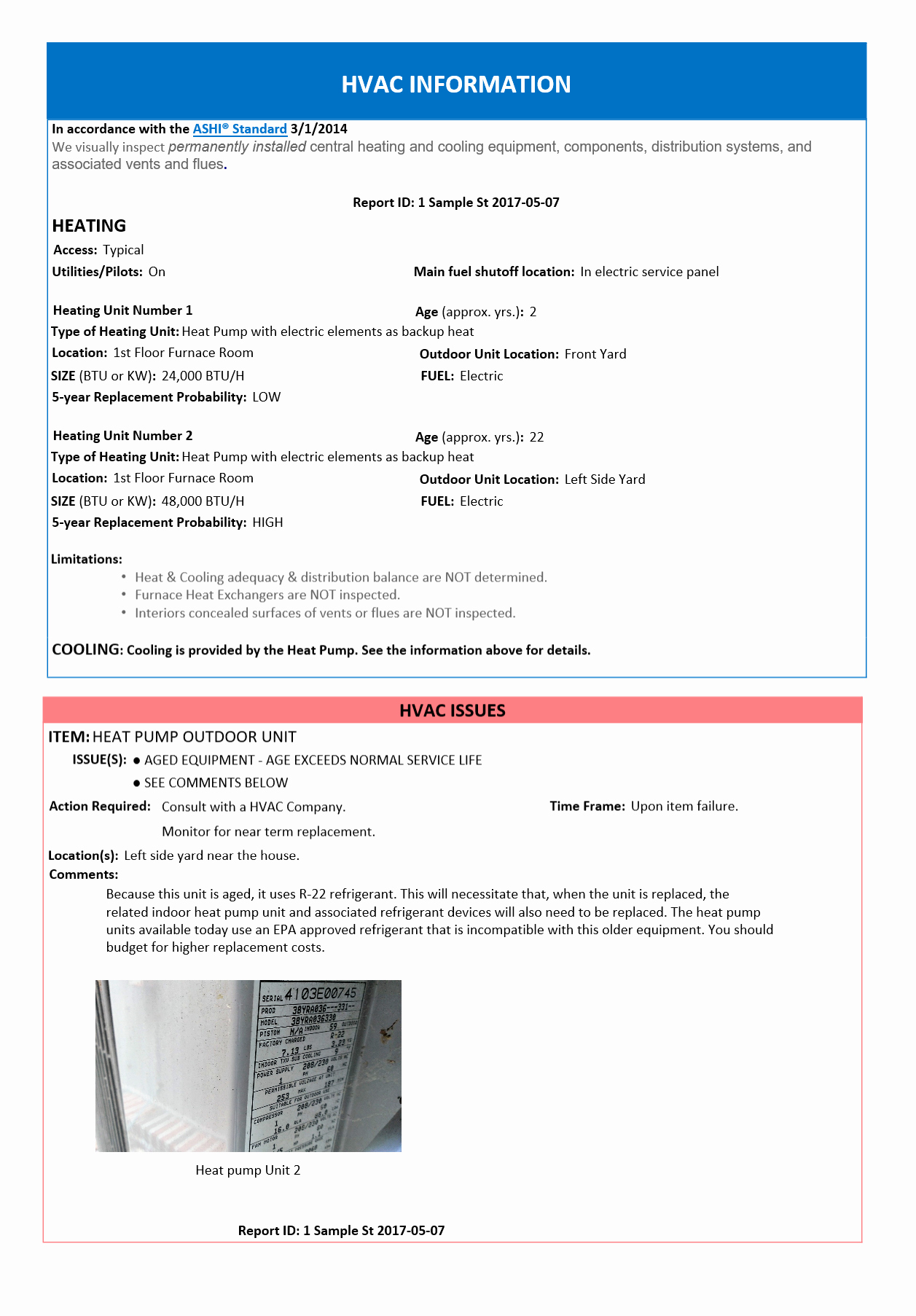 Plumbing Inspection Report Template Luxury Home Inspection Report – Hvac Page