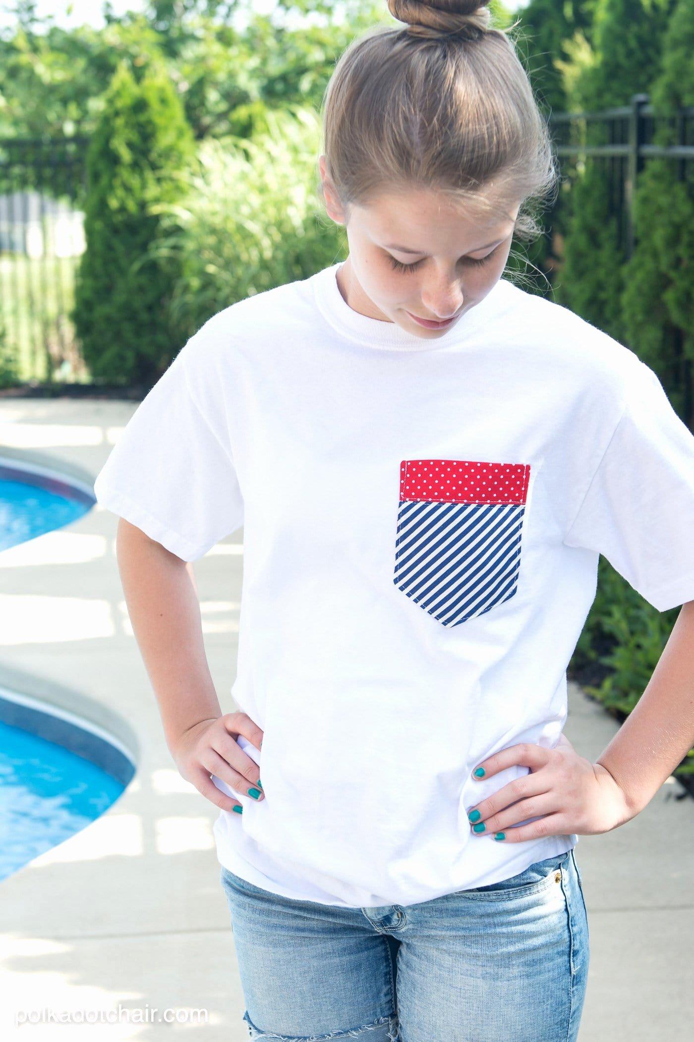 Pocket Shirt Template New Diy Pocket 4th Of July Shirts On Polkadotchair