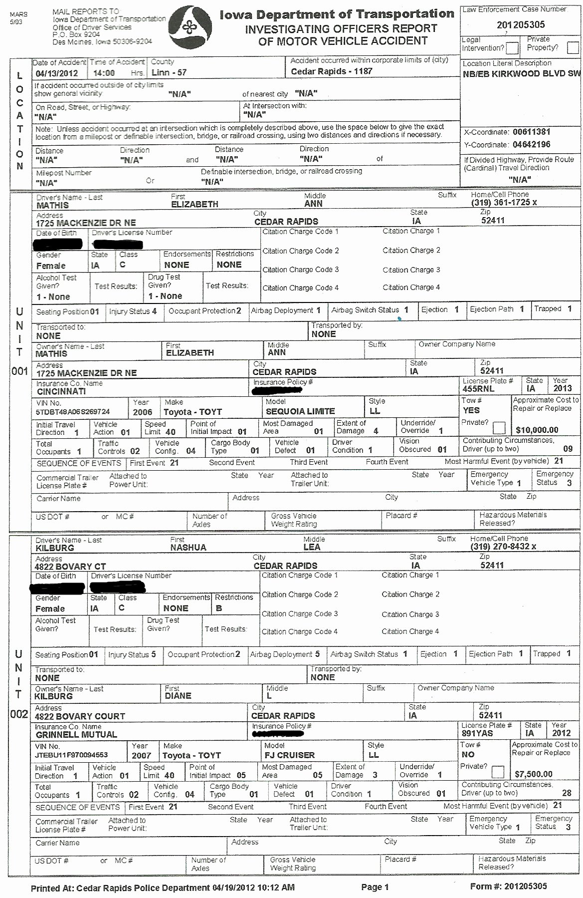 Police Accident Report form Awesome Cedar Rapids Downtown District's Second State Senator Liz