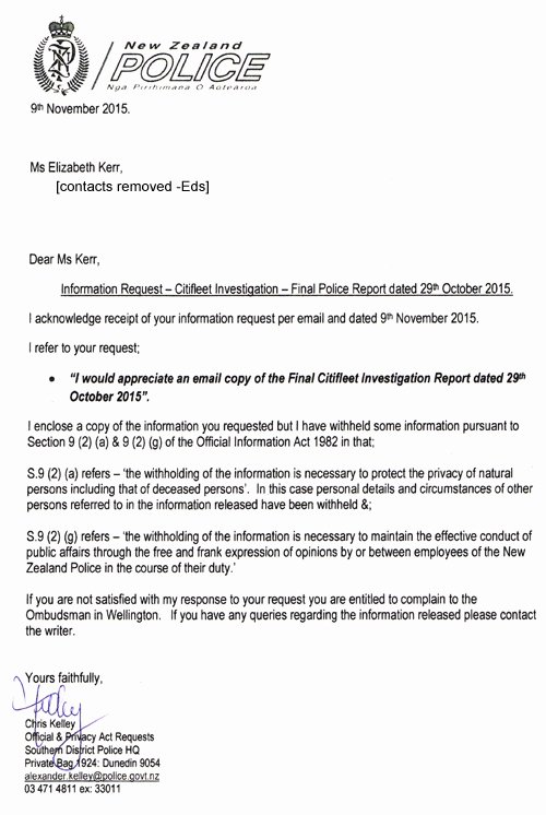 Police Investigation Report Awesome Letter Nz Police 9nov2015