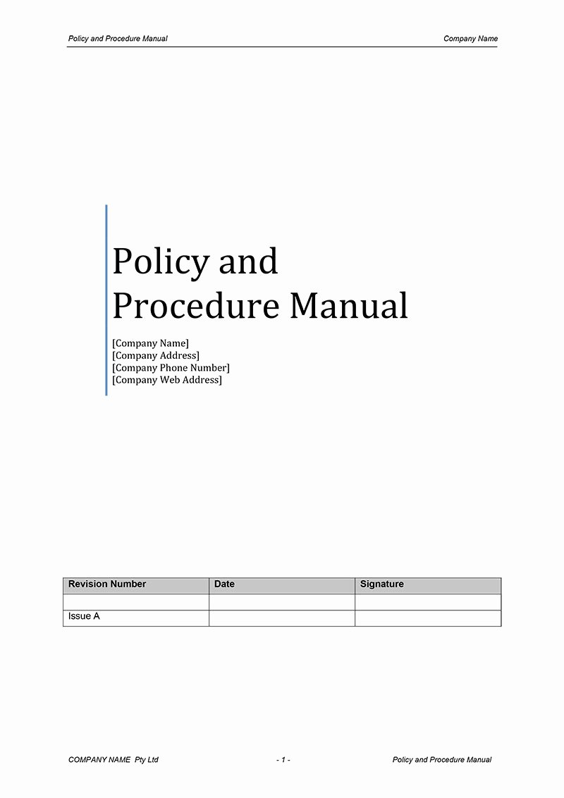 Policy and Procedure Manual Template Free Download Luxury Procedure Manual Template