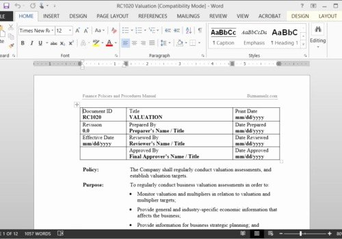 Policy and Procedure Manual Template Free Download New Policy and Procedure Template Microsoft Word