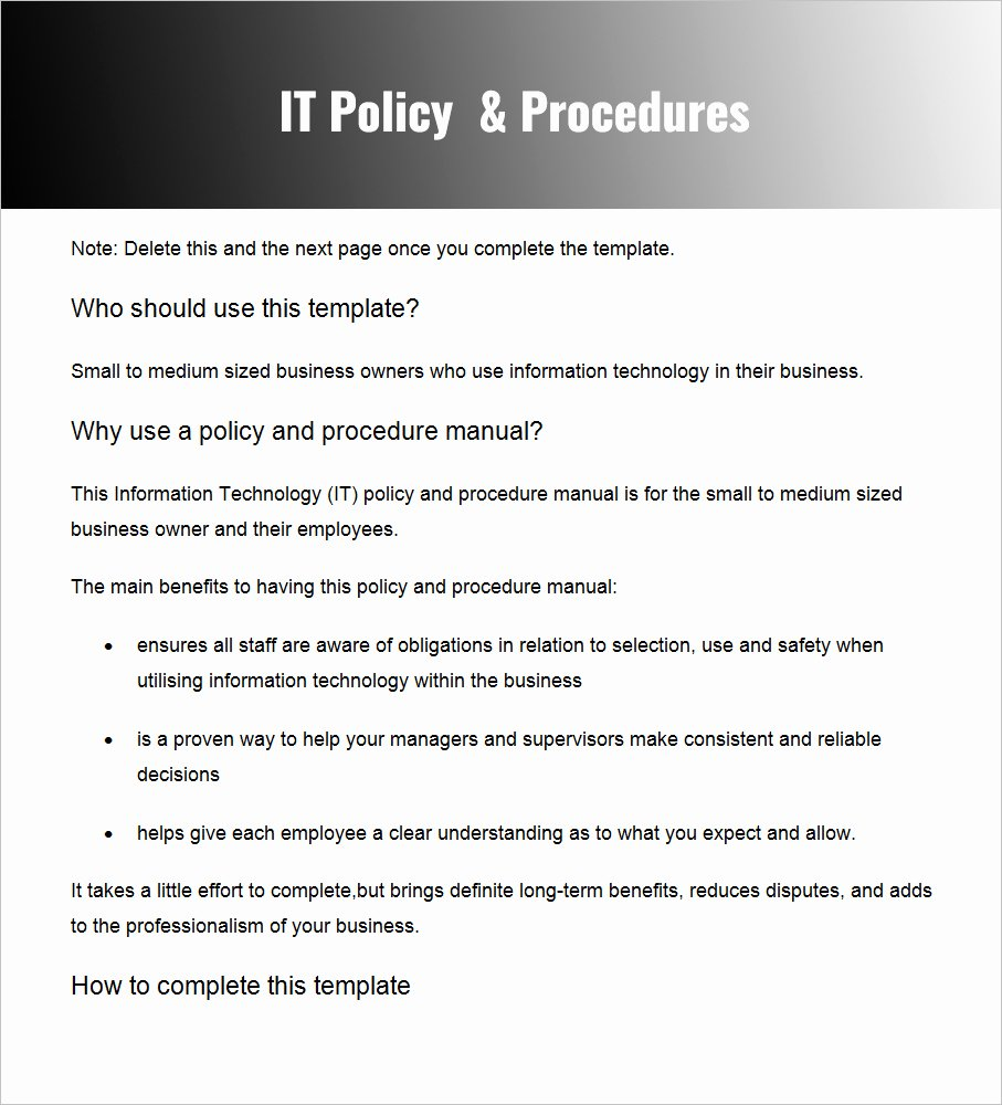 Policy and Procedure Template Free Awesome Policies and Procedures Template