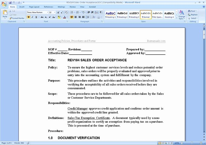 Policy and Procedure Template Free Lovely Accounting Policies and Procedures Manual