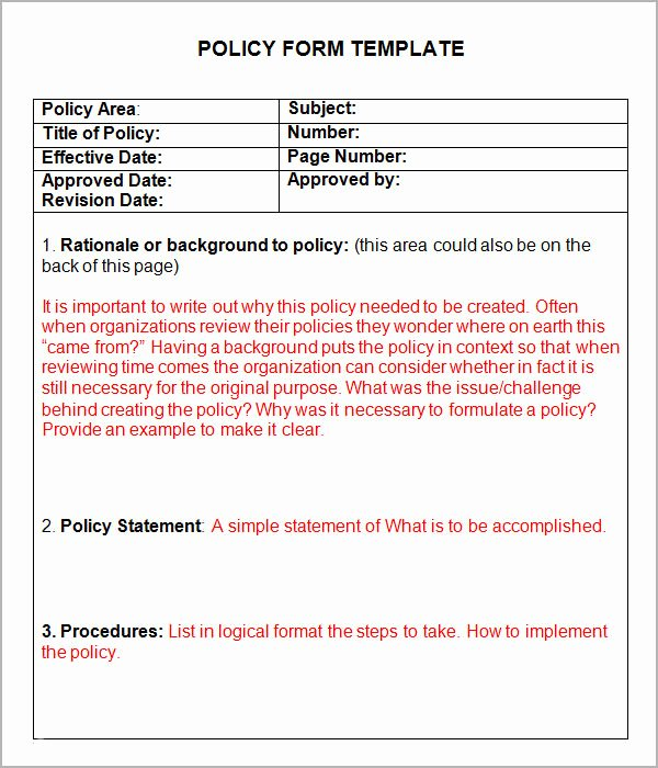 Policy and Procedure Template Fresh Policies and Procedures Template
