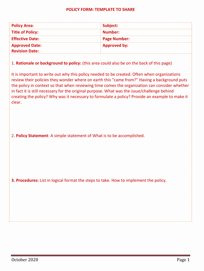 Policy and Procedure Template Luxury Policy and Procedure Templates for Word and Pdf