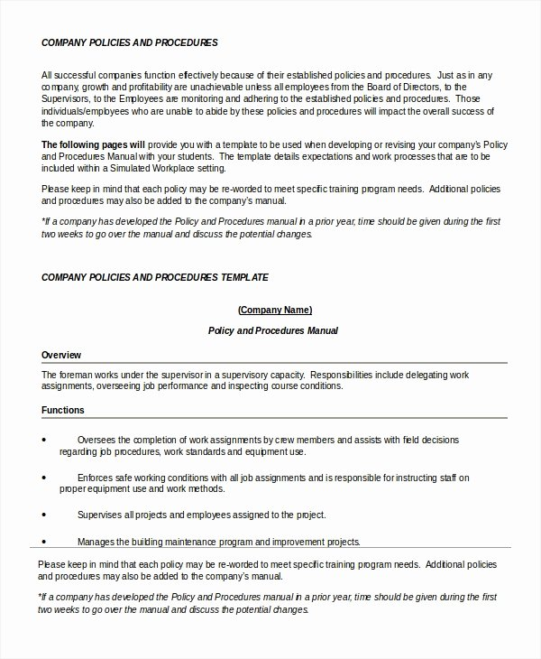 Policy and Procedure Template Unique Policy Template 7 Free Word Pdf Documents