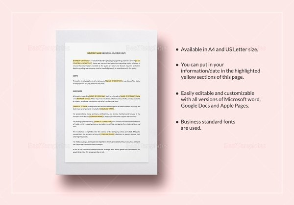 Policy Brief Template Microsoft Word Elegant Policy Template 21 Free Word Pdf Documents