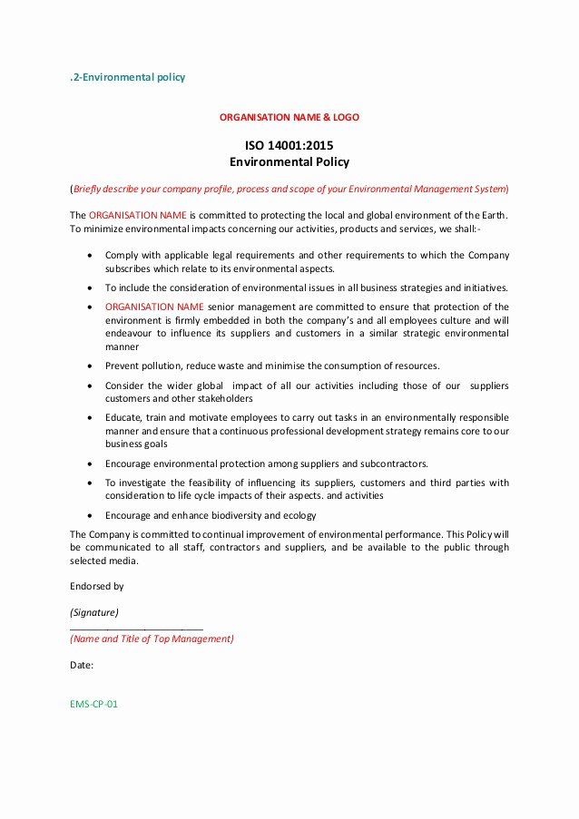 Policy Letter Template Awesome iso 2015 Policy Statement Example