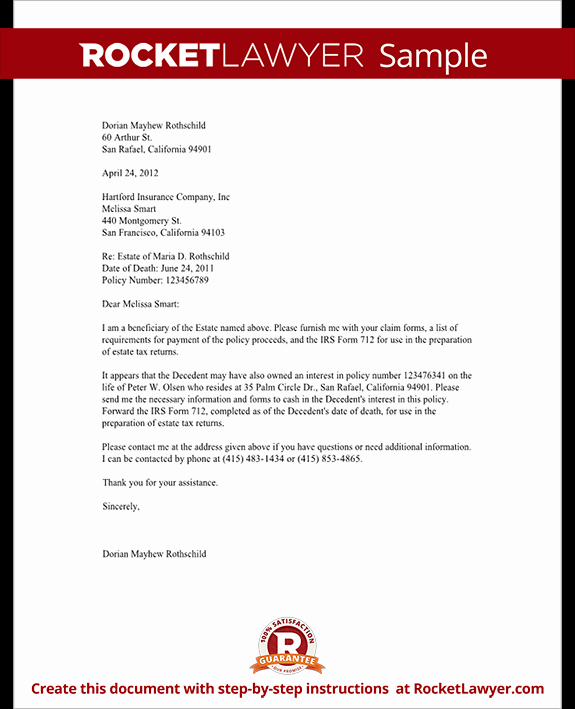 Policy Letter Template Beautiful Life Insurance Proceeds Letter Template with Sample