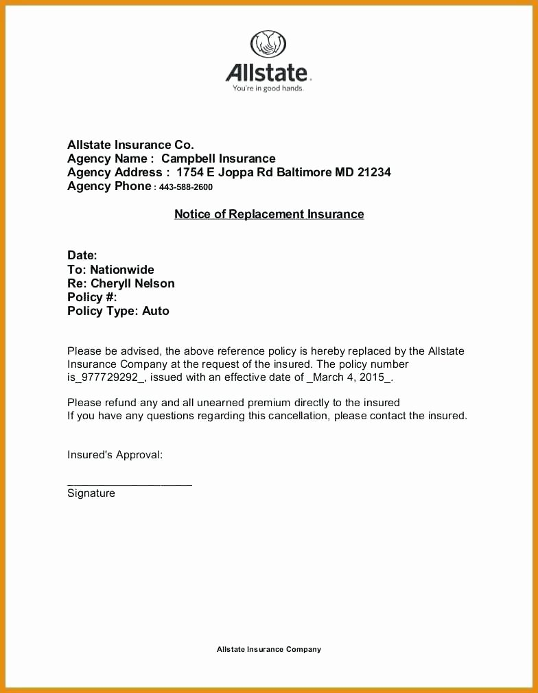 Policy Letter Template Elegant Insurance Policy Cancellation Letter Template Sample